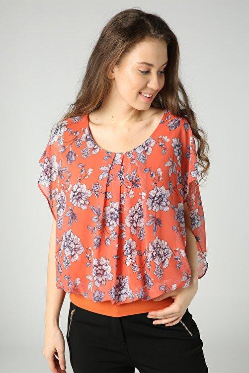 Select Moda Kadın Turuncu Çiçekli Beli Lastikli Bluz 2