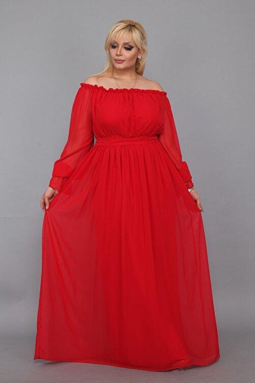 Moda Labio Dökümlü Büyük Beden Kırmızı Elbise 1