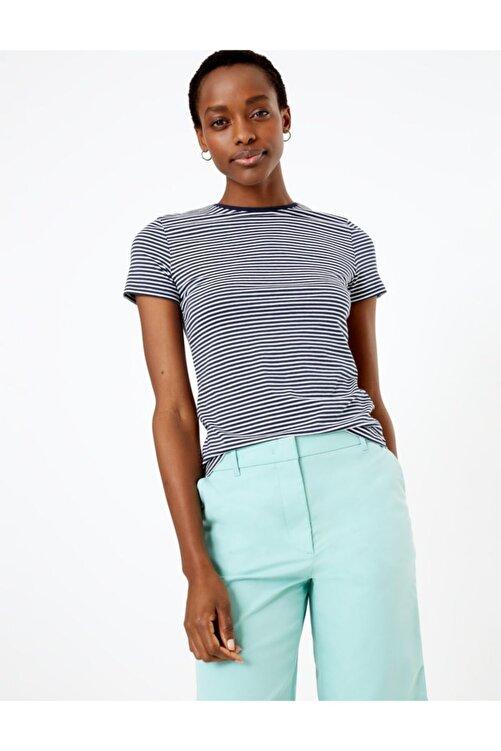 Marks & Spencer Kadın Lacivert Çizgili Fitted T-Shirt T41008762 1