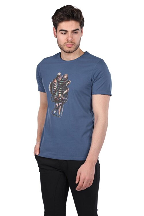 Phazz Brand Mikrofon Baskılı Erkek Bisiklet Yaka T-shirt 2