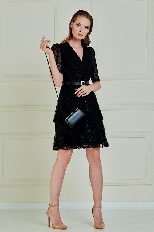 JEANNE DARC Jeanne D'arc Kruvaze Yaka Eteği Volanlı Dantel Elbise Je89061 2