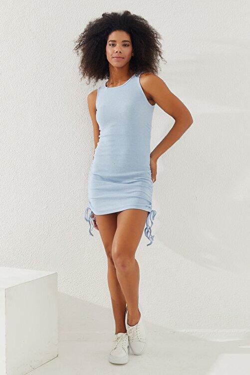 Reyon Kadın Mavi Yanları Büzgülü Sıfır Kol Elbise 2