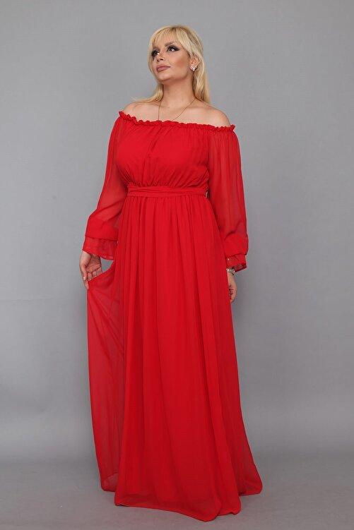 Moda Labio Dökümlü Büyük Beden Kırmızı Elbise 2