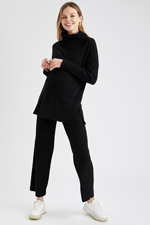 DeFacto Kadın Siyah Palazzo Örme Hamile Pantolon 1