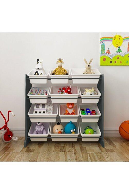 MORDEKA 12 Sepetli Çok Amaçlı Oyuncak Dolabı Montessori Dolap 2
