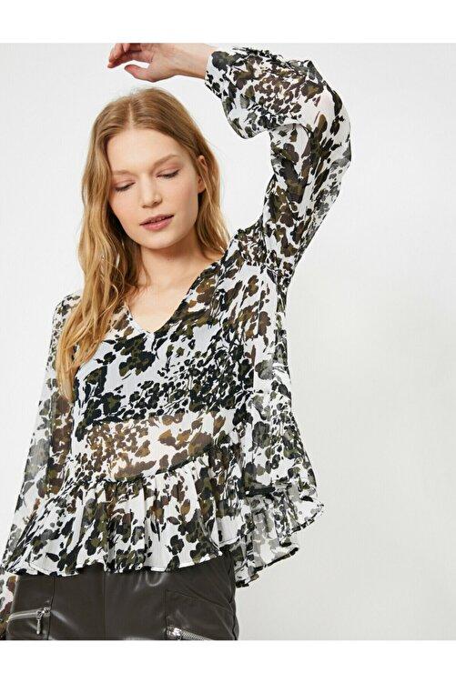 Koton Kadın Desenli Volan Detayli Uzun Kollu Bluz 2