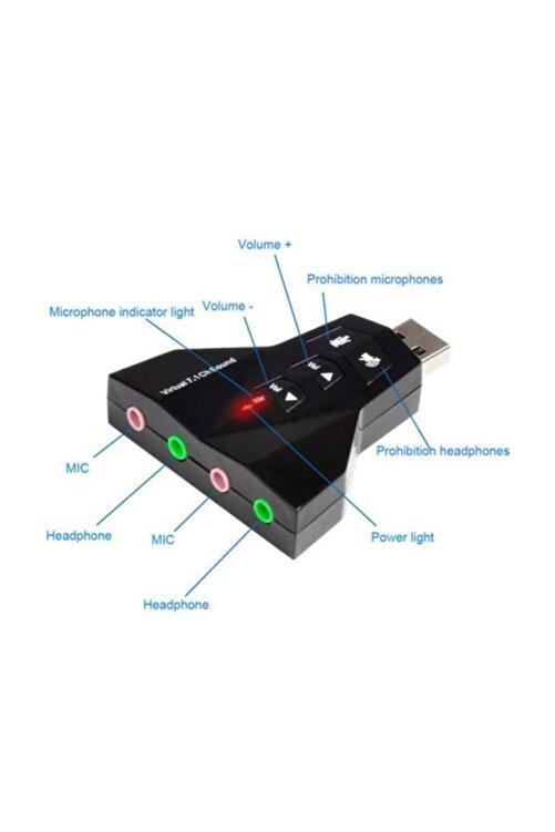 MAXGO 7.1 Usb Ses Kartı 7 Kanal Destekli Kablolu Çift Audıo Çevirici Dönüştürücü Haricı Mikrofonlu 1