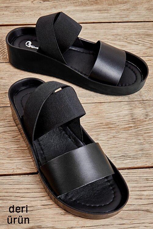 Bambi Hakiki Deri Siyah Kadın Sandalet L0515131003 1