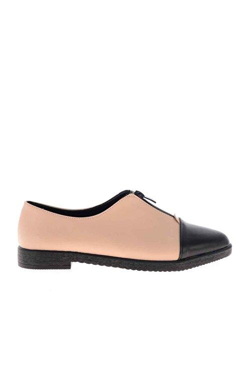 Bambi Siyah Bej Kadın Oxford Ayakkabı K01641160009 2