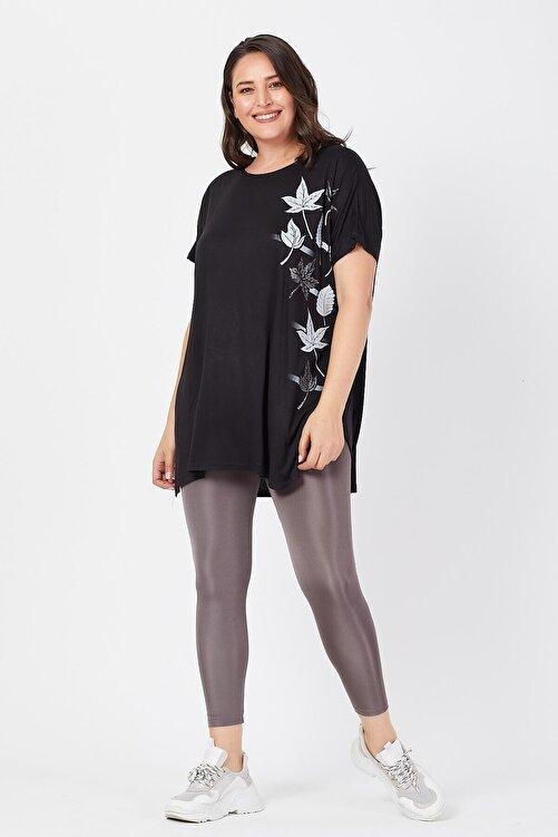 Siyezen Büyük Beden Siyah Salaş Sarmaşık Yaprak Baskılı T-shirt 2