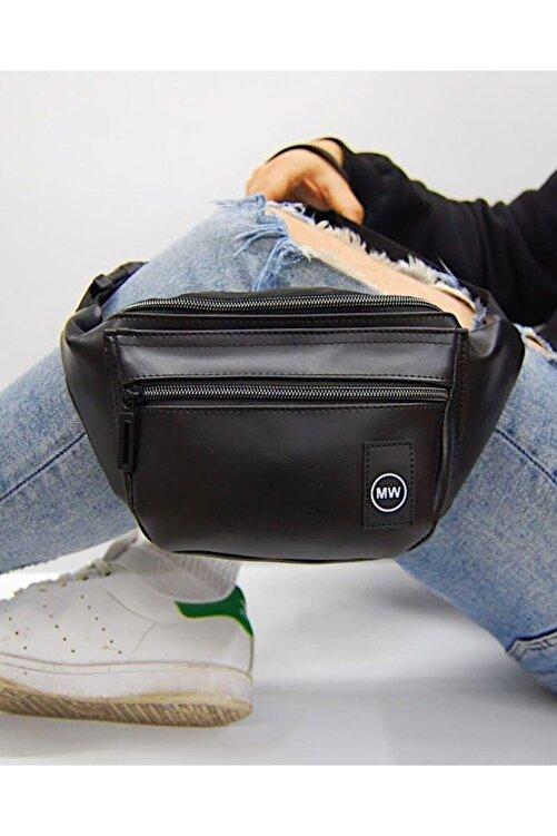 Moda West Unisex Siyah Suni Deri Omuz Ve Bel Çantası 1