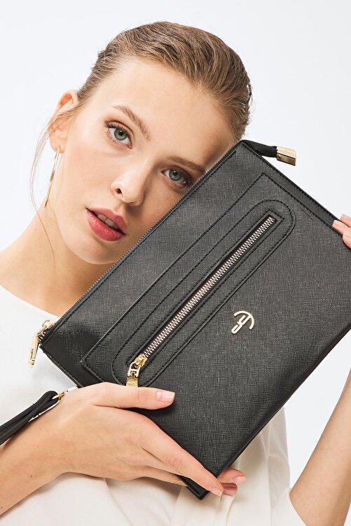 Deri Company Kadın Basic Clutch Çanta Düz Desen Logolu Siyah (4034s) 214031 1