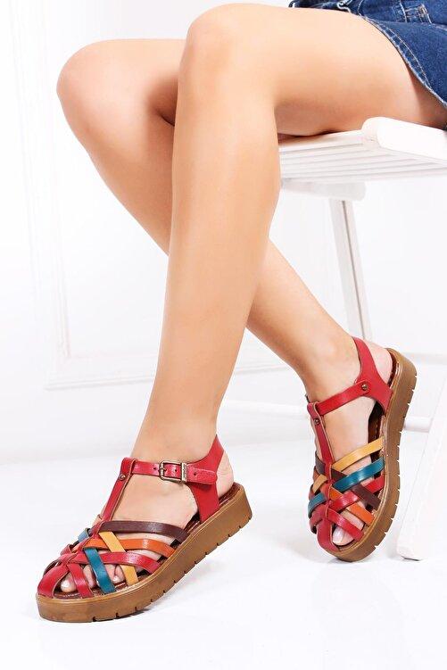 Deripabuc Hakiki Deri Kırmızı Multi-2 Kadın Deri Sandalet Dp-0097 1