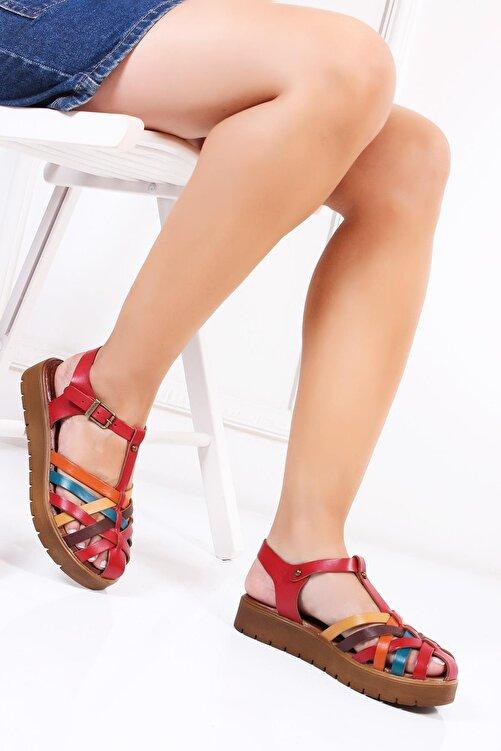 Deripabuc Hakiki Deri Kırmızı Multi-2 Kadın Deri Sandalet Dp-0097 2
