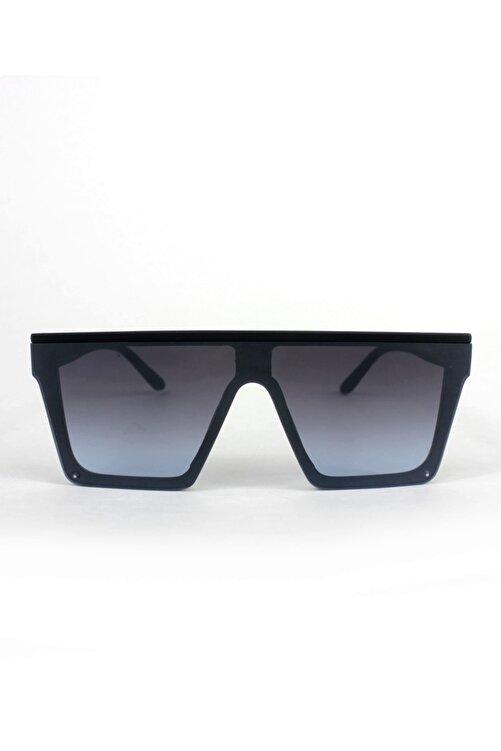 Hane14 Bonas Üstü Düz Kare Büyük Güneş Gözlüğü Aynalı Camlı Mat Siyah 2