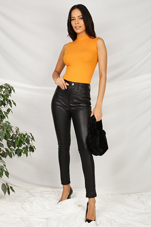 Select Moda Kadın Siyah Deri Görünümlü Yüksek Bel Skinny Pantolon 2