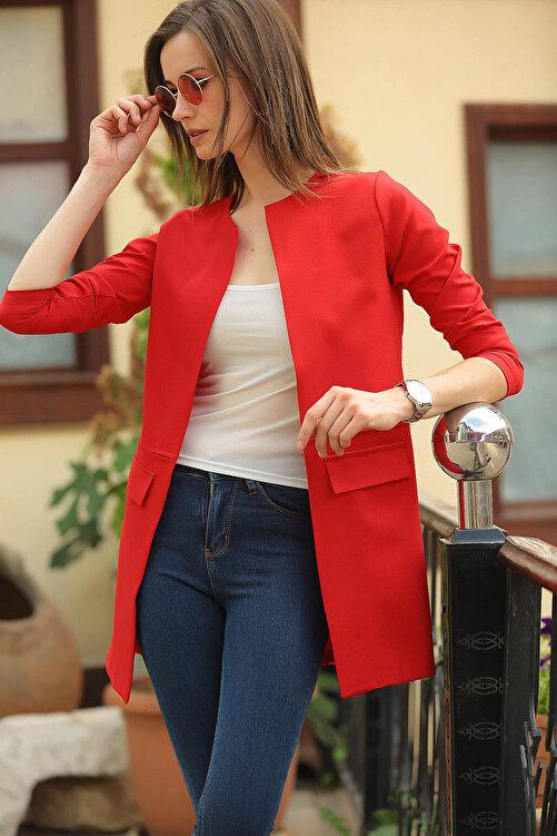 armonika Kadın Kırmızı Beli Dikişli Uzun Ceket ARM-18K001308 2