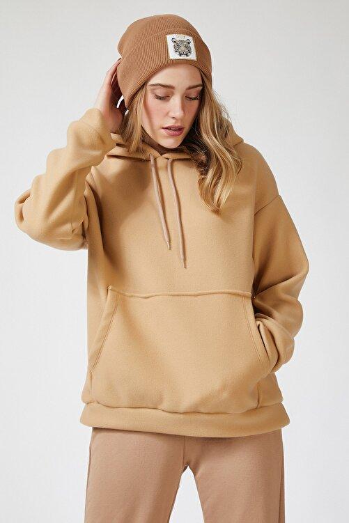Happiness İst. Kadın Bisküvi Kapüşonlu Kışlık Polar Sweatshirt ZV00047 2