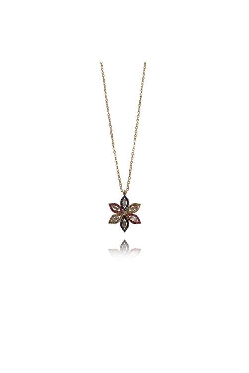 GaleniA Zirkon Taşlı 925 Ayar Gümüş Çiçek Kolye 2