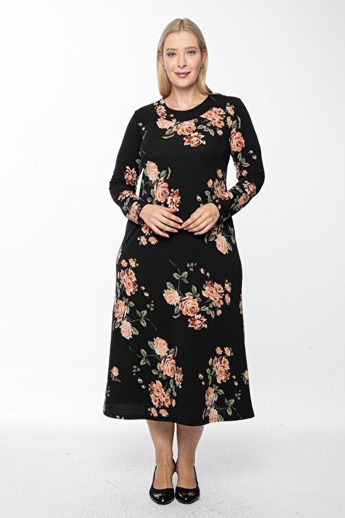 1fazlası Kadın Siyah Uzun, Büyük Gül Kurusu Baskılı Krep Elbise 1