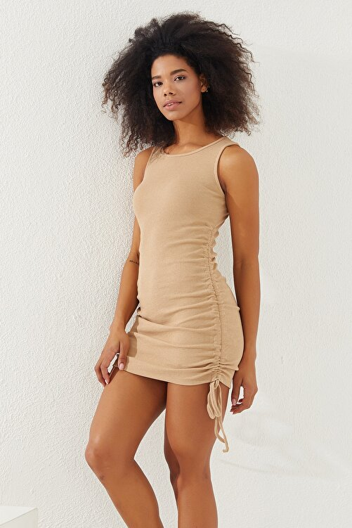 Reyon Kadın Taş Yanları Büzgülü Sıfır Kol Elbise 1