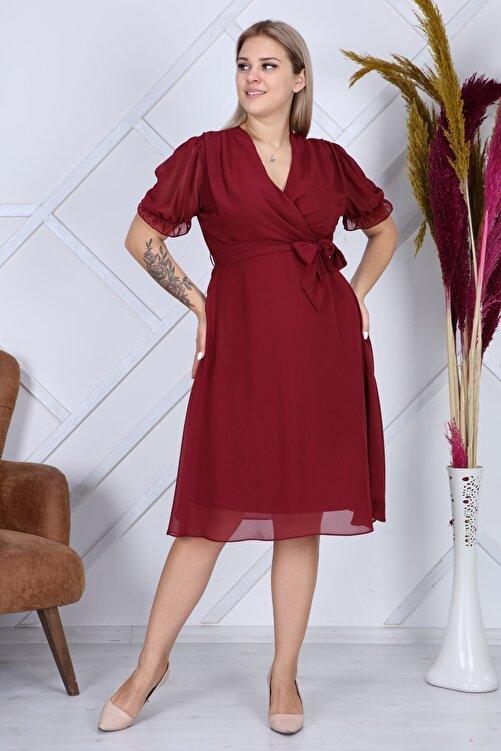 apsen Kadın Bağlama Detaylı Büyük Beden Kruvaze Şifon Elbise 4255/110 1