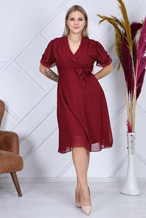 apsen Kadın Bağlama Detaylı Büyük Beden Kruvaze Şifon Elbise 4255/110 2