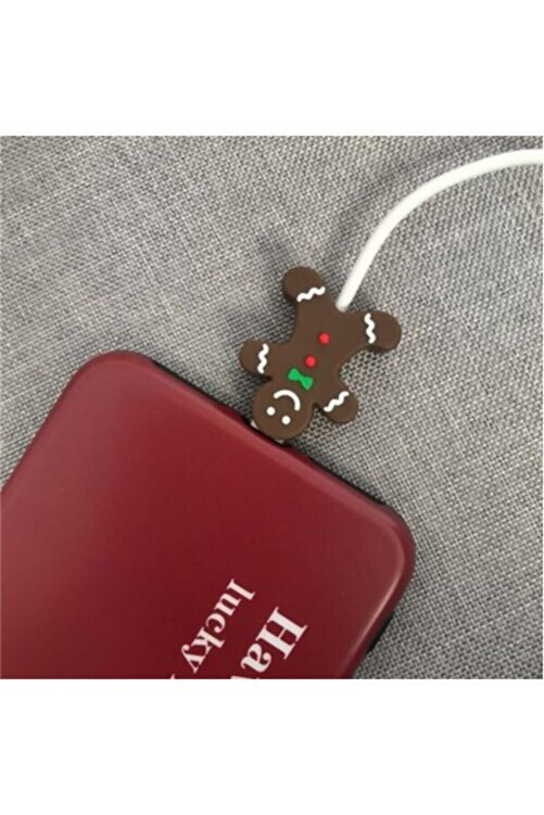 MY MÜRDÜM Sevimli Silikon Kablo Koruyucu Gingerbread Man 1