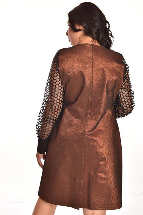 Ultimod Altın Tül Detaylı Büyük Beden Elbise Ult3527 2