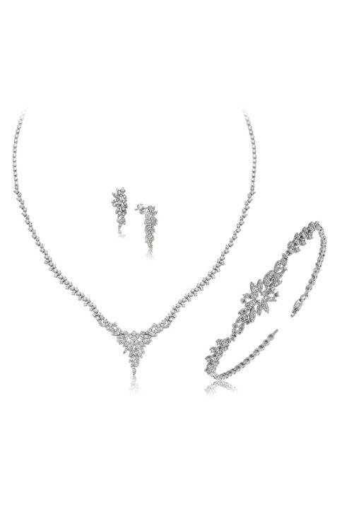 Mia Vento Pırlanta Montur Gümüş Su Yolu Set Takım 1