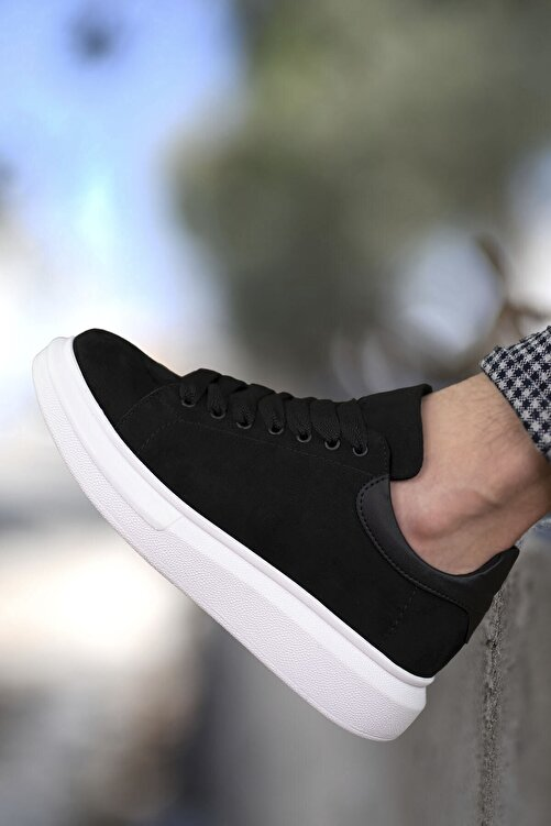 Riccon Süet Siyah Beyaz Erkek Sneaker 0012360 1