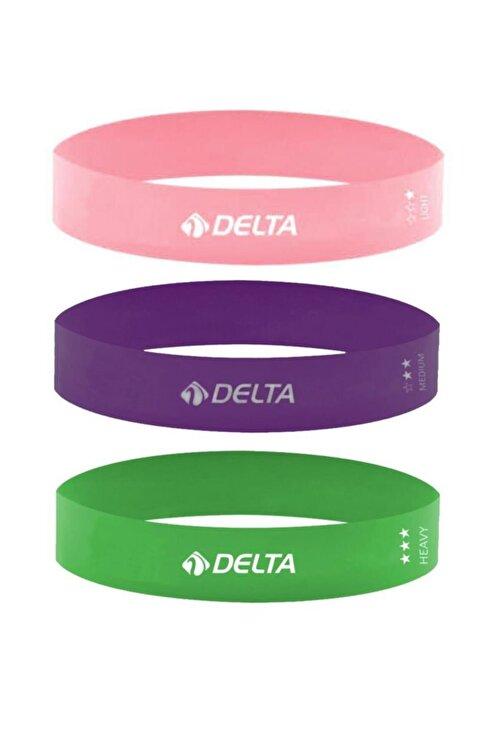 Delta 3'lü Aerobik Bandı Latex Bant Set Pilates Yoga Lastiği Seti 1