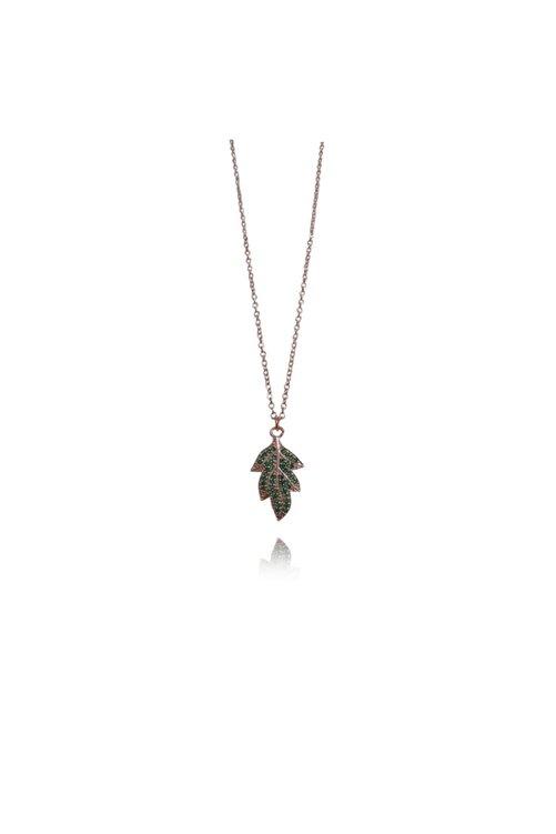 GaleniA Zirkon Taşlı 925 Ayar Gümüş Yaprak Kolye 2