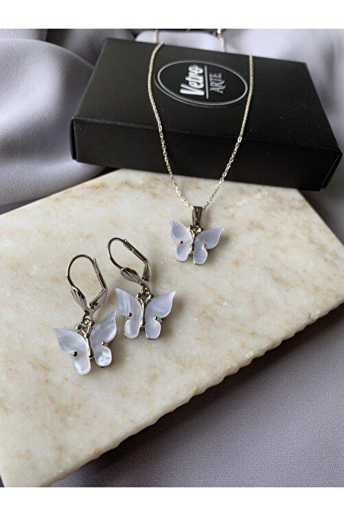 Vetro Arte 925 Ayar Gümüş Zincirli Sedefli Beyaz Kelebek Kolye Küpe Set 1