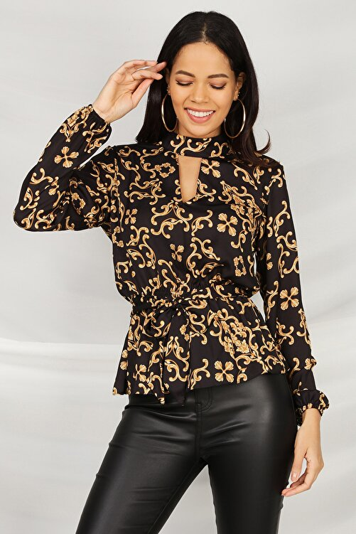 Select Moda Kadın Desenli Kemerli Bluz 2