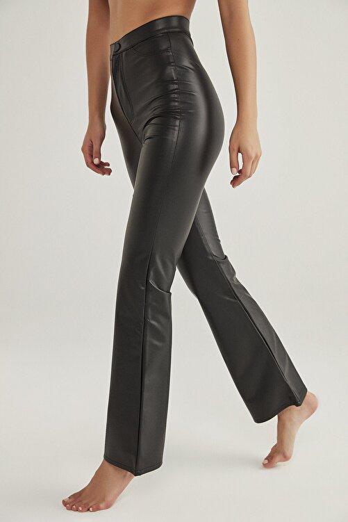 Penti Kadın Siyah Siyah Deri Görünümlü Flare Pantolon 2