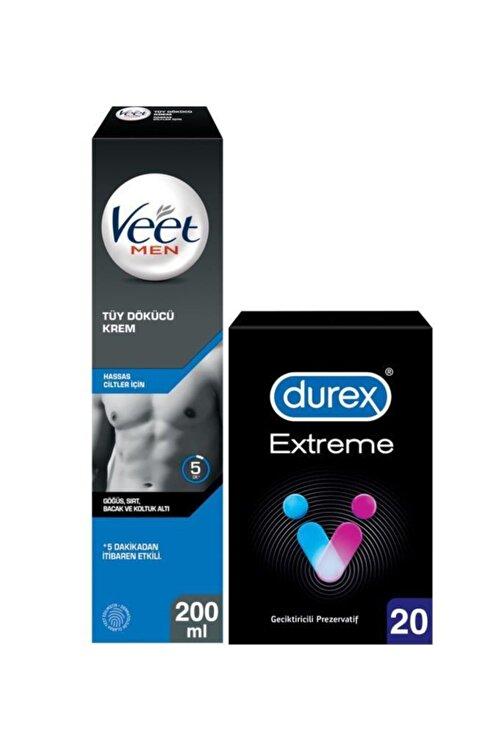 Veet Men Hassas Erkeklere Özel Tüy Dökücü Krem 200ml+durex Extreme Geciktiricili Prezervatif 20'li 1