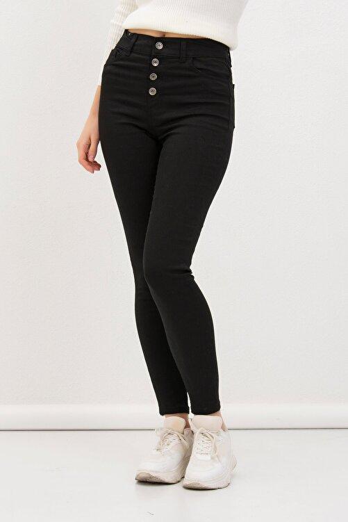 Mossta Kadın SiyahDört Düğmeli Likralı Pantolon 2