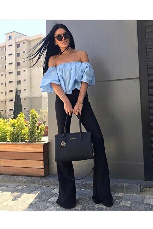 Fashiontayt Kadın Siyah İspanyol Paça Tayt 1