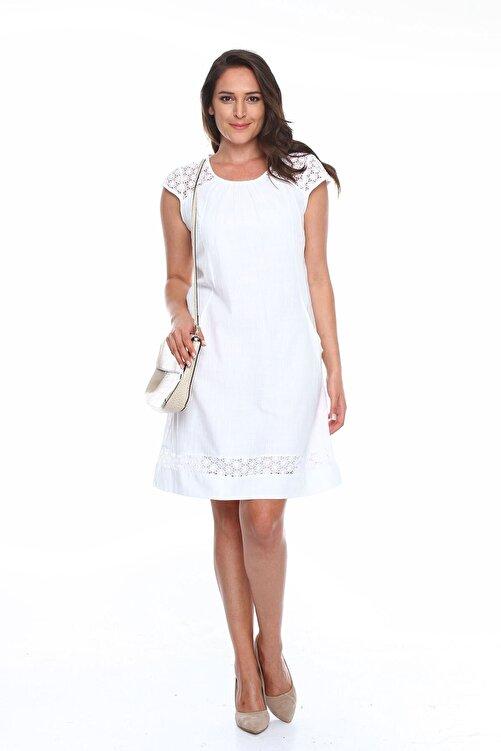 Zer Otantik Güpürlü Büyük Beden Elbise Beyaz 1