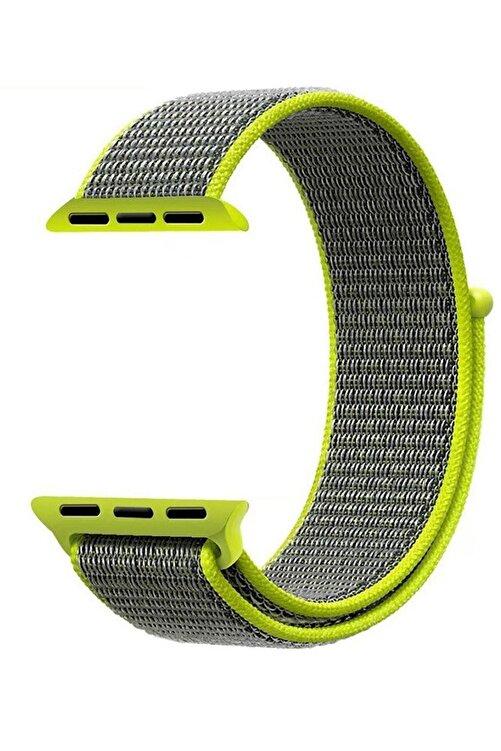 Robotekno Neon Yeşil Gri Apple Watch Dokuma Kordon Kayış - 38mm 40mm 1