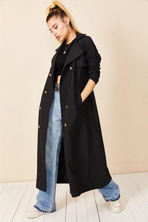 VOLT CLOTHİNG Kadın Siyah Şal Yaka Düğmeli Trençkot 1