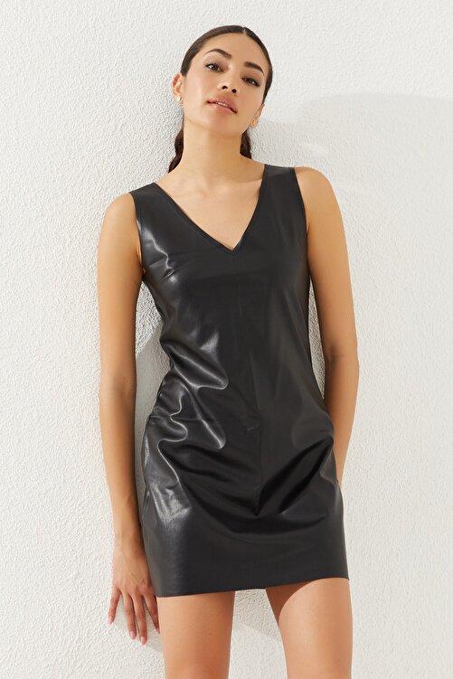 Reyon Kadın Siyah Kısa Kol Suni Deri Elbise 2