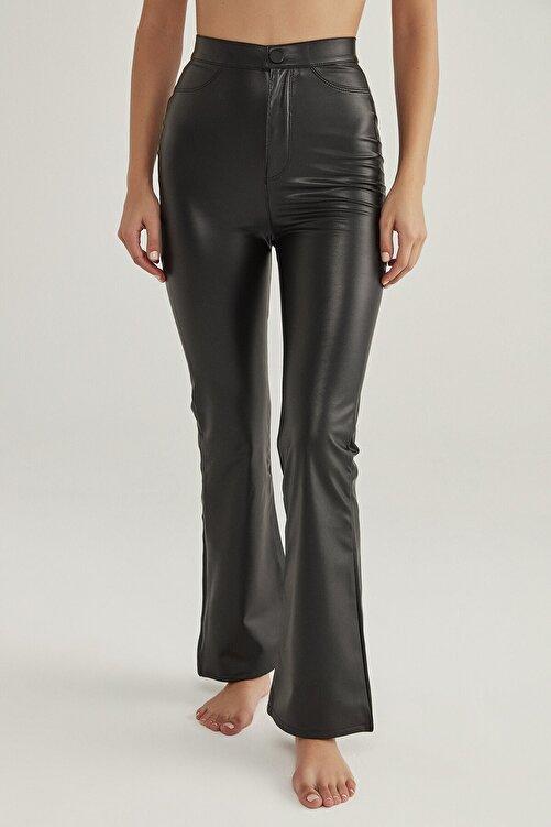 Penti Kadın Siyah Siyah Deri Görünümlü Flare Pantolon 1