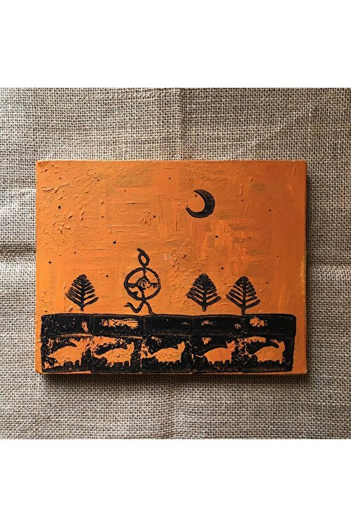 Nagihan Aydınlık Şaman, 20x25, Kanvas Tablo Üzerine Akrilik,  Linol Baskı 1