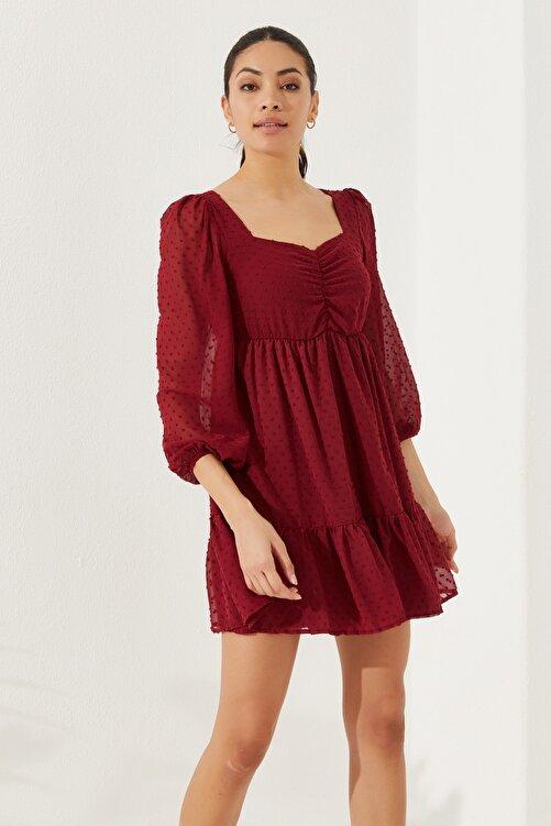 Reyon Kadın Astarlı Uzun Kol Şifon Elbise Bordo 1