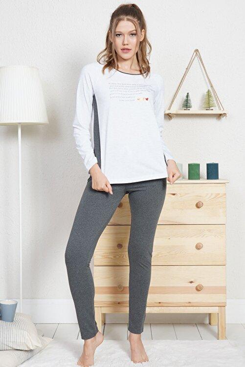 VİENETTA Kadın Lycralı Suprem Uzun Kol Normal Beden Yazılı Desen Gümüş Pijama Takım 2