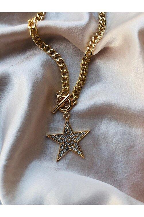 Accessorize Kadın Paslanmaz Çelik Zirkon Taşlı Gold Yıldız Kolye 2