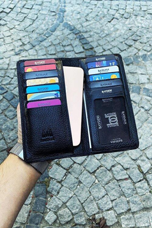 BAYDERİ Unisex Siyah Hakik Deri Telefon Sığabilen Premium Tasarım Cüzdan 2