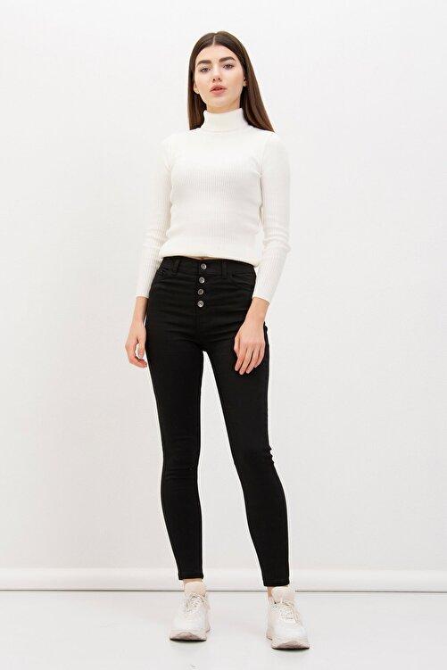 Mossta Kadın SiyahDört Düğmeli Likralı Pantolon 1